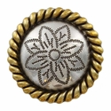 FA5053-4 ASAG Antique Silver and Gold Rope Edge Flower Engraved Concho 1-1/2''