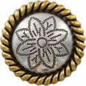 FA5053-5 ASAG Antique Silver and Gold Rope Edge Flower Engraved Concho 1-3/4''