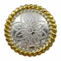 FA5053-4 GSP Polished Silver and Gold Rope Edge Flower Engraved Concho 1-1/2''