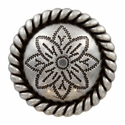 FA5053-4 LASRP Antique Silver Rope Edge Flower Engraved Concho 1-1/2''