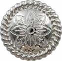 FA5053-5 SP Polished Silver Rope Edge Flower Engraved Concho 1-3/4''