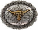 """FA5074 ASAG Antique Silver and Gold Longhorn Oval Concho 1-1/2"""" by 1-1/4"""""""