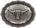 """FA5074 LASRP Antique Silver Longhorn Oval Concho 1-1/2"""" by 1-1/4"""""""