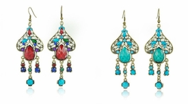 FE101116 Fashion Drop Chandelier Spade Gemstone Earrings