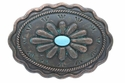 Southwestern Belt Buckle Antique Copper Patina w/ Simulated Turquoise  H8389-2 MOEB61+TQEN