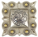 """LL-2322 OS/G Square Berry Concho 3"""" Old Silver/Gold"""
