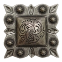 """LL-2323 OS Square Berry Concho 1 1/2"""" Old Silver"""