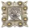 "LL-2324 OS/G Square Berry Concho 1-1/4"" Old Silver/Gold"