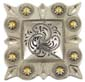 "LL-2325 OS/G  Square Berry Concho 1"" Old Silver/Gold"