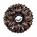 "LL-2907 Copper Sunflower Crystal Concho 1"" Wide"