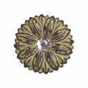 "LL-2907 Golden Yellow Sand Sunflower Crystal 1"" Concho"