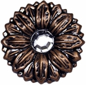 "LL-2909 Copper Sunflower Crystal Concho 2"" Wide"