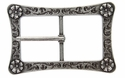LL-3243 OS Antique Silver Engraved Flower Center Bar Buckle