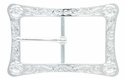 LL-3243 SP Bright Silver Engraved Flower Center Bar Buckle
