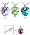 Love Heart Crystal Gem Necklaces *Multi-Color*