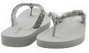 Mariposa Women Summer Bling Flip Flops Sandals - Silver