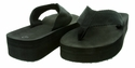 "New Gino-3 Women's Flip Flop 1-1/2"" Heel - Black 18 Pair Per Case"