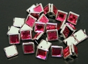 "NH-188 Dark Pink  3/8"" Synthetic Crystal Gem Square Spots 10/pk"
