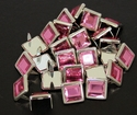 "NH-188 Pink  3/8"" Synthetic Crystal Gem Square Spots 10/pk"