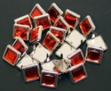 NH-189 Red  12.7mm Synthetic Crystal Gem Square Spots 10/pk