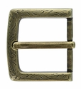 "P3983 Western Floral Engraved Antique Brass Belt Buckle  fit's 1-1/2"" (38mm) wide Belt"