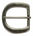 "P3984 Western Floral Engraved Antique Silver Belt Buckle  fit's 1-1/2"" (38mm) wide Belt"