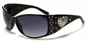 ROMANCE High Fashion Celebrity Inspired Rhinestone Bling Sunglasses - Heart Pattern - Blue