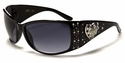ROMANCE High Fashion Celebrity Inspired Rhinestone Bling Sunglasses - Heart Pattern - Purple
