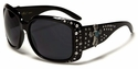 ROMANCE Ladies Fashion Rhinestone Bling Celebrity Inspired Cross Sunglasses-98006-Black