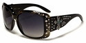 ROMANCE Ladies Fashion Rhinestone Bling Celebrity Inspired Cross Sunglasses-98006-Black Frame -Tortoise Eye