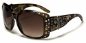 ROMANCE Ladies Fashion Rhinestone Bling Celebrity Inspired Cross Sunglasses-98006-Tortoise