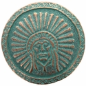 SC-582 Green Patina Round Headdress Concho 1-3/4""