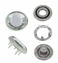 Swarovski Elements 11mm Faceted Snap Fastener Silver Crystal 72 sets