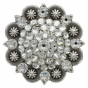 "Swarovski Rhinestone Crystal 2"" Antique Silver Berry Concho - Crystal"