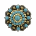 Swarovski Rhinestone Crystal Antique Silver and Gold Berry Concho - Turquoise and Crystal Aurum