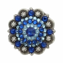 Swarovski Rhinestone Crystal Antique Silver Berry Concho - Capri Blue and Aquamarine