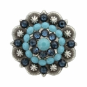 Swarovski Rhinestone Crystal Antique Silver Berry Concho - Turquoise and Montana