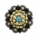 Swarovski Rhinestone Crystal Antique Silver Berry Concho -  Turquoise, Crystal Aurum, and Jet