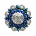 Swarovski Rhinestone Crystal Silver Polished Berry Concho - Capri Blue Crystal and Scarabaeus Green