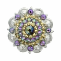 Swarovski Rhinestone Crystal Silver Polished Berry Concho - Crystal Aurum and Crystal Paradise Shine