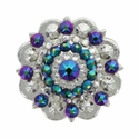 Swarovski Rhinestone Crystal Silver Polished Berry Concho - Crystal Clear and Scarabaeus Green