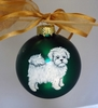 Maltese Puppy Hand Painted Christmas Ornament