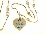 "Heart Paw B/.075 Diamond Jump Ring & 4 Diamond 18"" Chain (RG)"