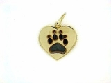 Heart Paw C161BY Tag/Rhodium Black