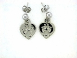Heart Paw ER161CW Tag Ball Drop Earring (WG)