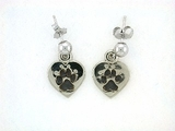 Heart Paw ER161CW Tag/Rhodium Ball Drop Earrring (WG)