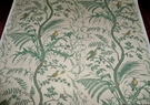 BRUNSCHWIG & FILS BIRD AND THISTLE TOILE LINED FABRIC 25 YARDS GREEN CREAM YELLOW