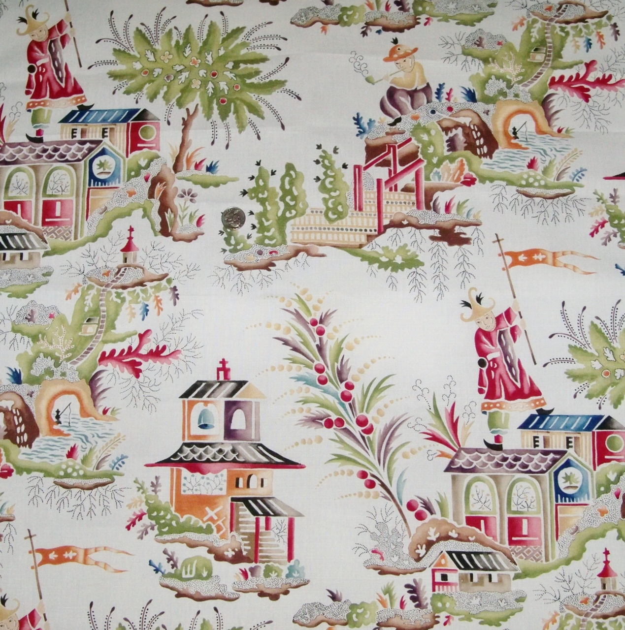 CLARENCE HOUSE FRENCH CHINOISERIE PAGODAS TOILE LINEN