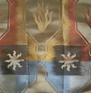 CLARENCE HOUSE HOMMAGE A COCTEAU SILK DAMASK FABRIC CUIVRE / ARGENT GOLD MULTI