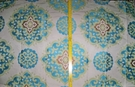 DESIGNER GOVAD KILIM MEDALLION DAMASK FABRIC CREAM TURQUOISE LIME